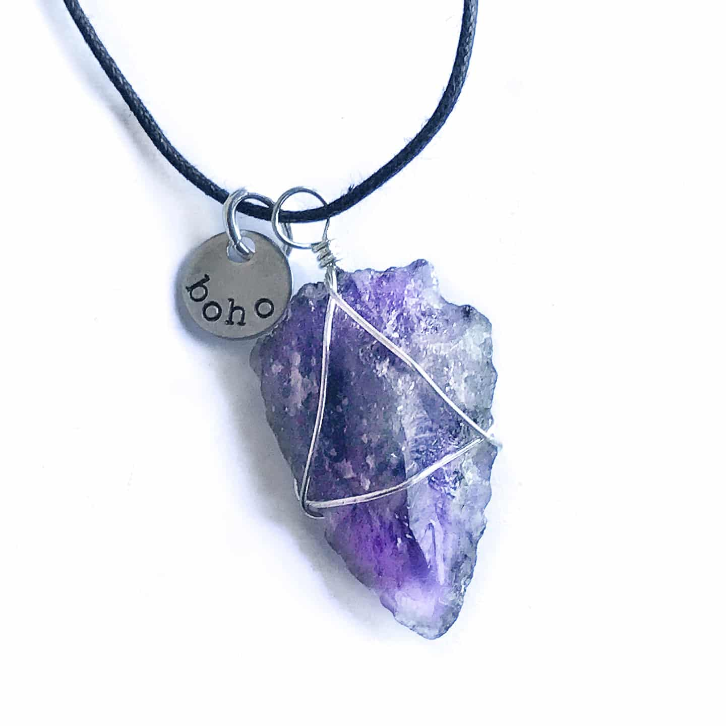 rough jewelry necklaces handmade gemstone necklace silver reija eden amethyst cut shop